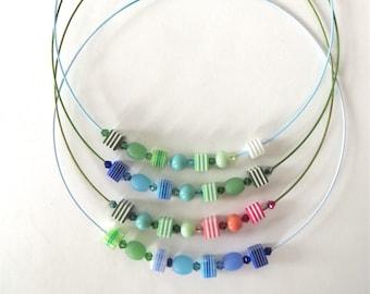 """Multicolor glass  Beaded  necklace Minimal glass necklace Bead Choker necklace """" Zébré """""""