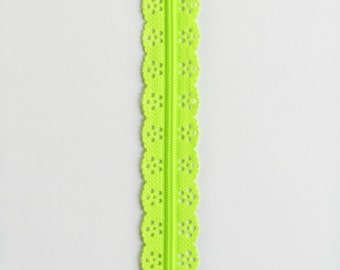 "Lime Green Lace Zipper - 8"" Zippers - Green Zippers - Sewing Zippers - Lace Zippers - Zippers for Bags - YKK Zippers - Bag Zippers - Zippers"