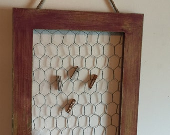 Chicken Wire Picture Holder Repurposed Picture Frame Distressed Picture Holder