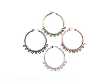 9-Hole Chandelier Earring Hoop-Brass Earring Findings-Latch Back Earring-Leverback Earring-Antique Bronze-Antique Copper-Gun-Rhodium-36mm