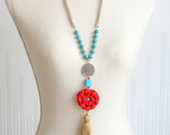 beige, red and turquoise necklace beaded fabrics and tassel necklace