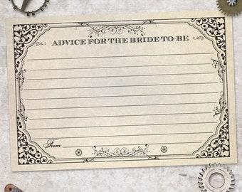 "Printable Steampunk Advice Card, Bridal Wedding Shower, 6""x4"", JPG Instant Download"