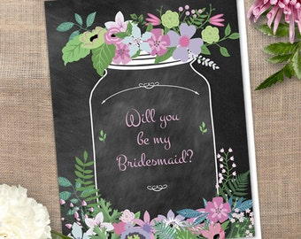Printable Chalkboard Mason Jar Floral Will You Be My Bridesmaid / Thank You Greeting Card - Pink and Green; Editable PDF, Instant Download
