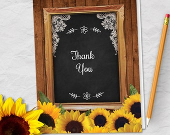 Printable Rustic Sunflowers Chalkboard Lace Frame Bridesmaid Thank You Greeting Card; Editable PDF, Instant Download