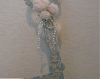 Blue Vintage Key with Rosettes & Pearls