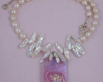 Iridescent White Pearls & Irridized Pendant