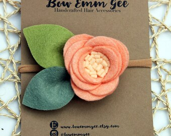 PIXIE Peach felt flower headband || Felt Flowers || Nylon headband || One size fits all (baby - adult) || bowemmgee
