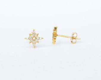 North star - tiny gold earrings - tiny cz earrings - cluster earrings - star stud - starburst earrings - cz earring - zodiac jewelry, J11376