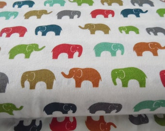 Organic Double Gauze fabric. Elephants. Birch fabric. Ellie Fam Mulit double gauze. Certified organic. Red, mint, green, blue elephants
