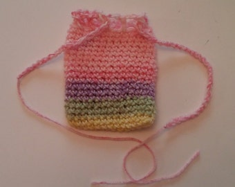 Crochet Drawstring Bag / Pouch Pink,Purple,Green and Yellow