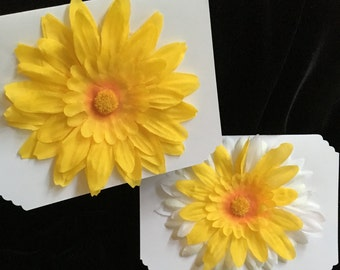 Silk Flower Cards Set {2} Gift Cards Yellow W Envelopes Note Cards Brand New