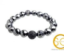 Hematite Natural Stone Stretch Bracelet, 10 mm faceted Hematite, Lava Stone, natural stone.