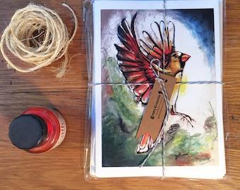 Greeting Card Set // 4 Assorted Cards // Bird Art // Cardinal Illustrations
