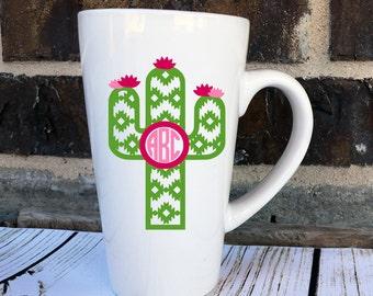 Aztec Cactus Monogram Decal - Cactus Monogram Decal - Southwest Monogram Yeti - Aztec Monogram Decal -  Aztec Glitter Decal - Cactus Car
