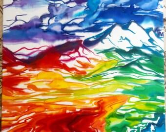 Rainbow Hills - Silkpainting