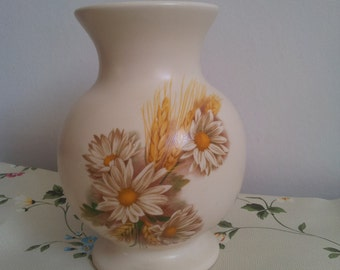 Vintage Ceramic Purbeck Pottery Vase with Flowers