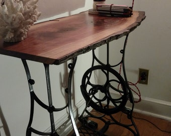 Antique reclaimed Sewing Live Edge walnut table (Free Local Delivery - Tri State Area)