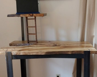 Live edge and steel standing desk with tower (Free Local Delivery Tristate Area)