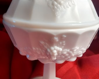 Milk Glass compote   Westmoreland   Paneled Grape pattern