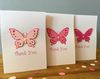 6 Handmade Butterfly Thank You Cards, Pink Butterfly Cards, Thank You Cards, Butterfly Party Card