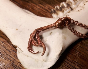 VELOCIRAPTURE Copperformed Sparrow Claw Pendant and Necklace
