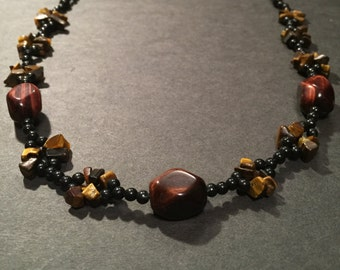 Red Tiger Eye and Gold Tiger Eye Necklace