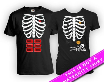 Halloween Pregnancy Shirt Birth Announcement Skeleton Costume Maternity Clothes Couples T Shirt Matching TShirts Parents Gift FAT-487-492