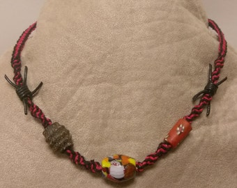 Red and Black Hemp Necklace with Bracelet