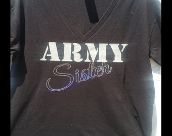 Army Sister holographic  vee neck t shirt