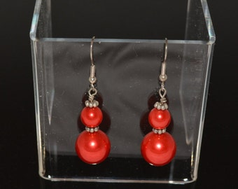 Glass Pearls Dressed in Red and Accented with Silver