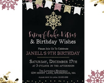 Snowflake Invitation, Snowflake Birthday Invitation, Winter Birthday Invitation, Girl Birthday Invitation, Printable Invitation