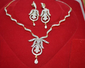 Necklace/wedding jewelry/bridal set/white topaz/