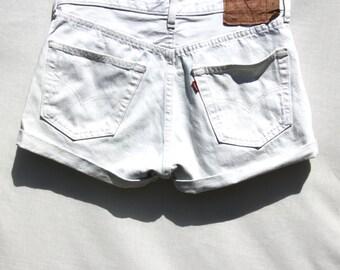 Vintage Levi 501's White Denim Shorts W32