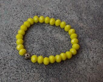 Neon Yellow Glass Beaded Bracelet