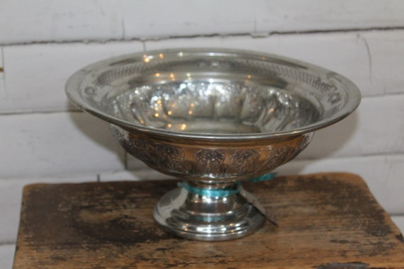Vintage Eastern Pewter Silver Bowl