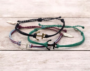 Anchor Surfer Bracelet, Nautical Friendship Bracelet, Boho Bracelet, Stackable Beach Bracelet, Waterproof Waxed Cord Bracelet, Anchor Charm