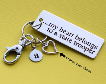 Personalized State Trooper Key Chain My Heart Belongs to a State Trooper Stainless Steel Customized with Your Charm & Initial -K306