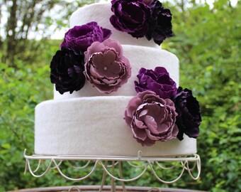 Purple Flower Wedding Cake Topper Set. Wild Flower Cake, Garden Wedding, Purple Cake Flowers, Vintage Wedding, Cake Decorations..