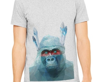 Polygon t-shirt Gray T-shirt,Men's t-shirt, poly image of gorilla printed on athletic gray t-shirt