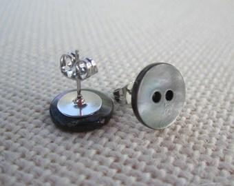 Grey Metallic Button Earrings