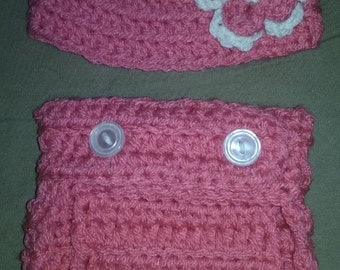 fancy flower hat and diaper cover set