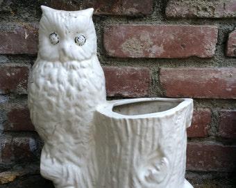 Vintage Ceramic Owl Planter