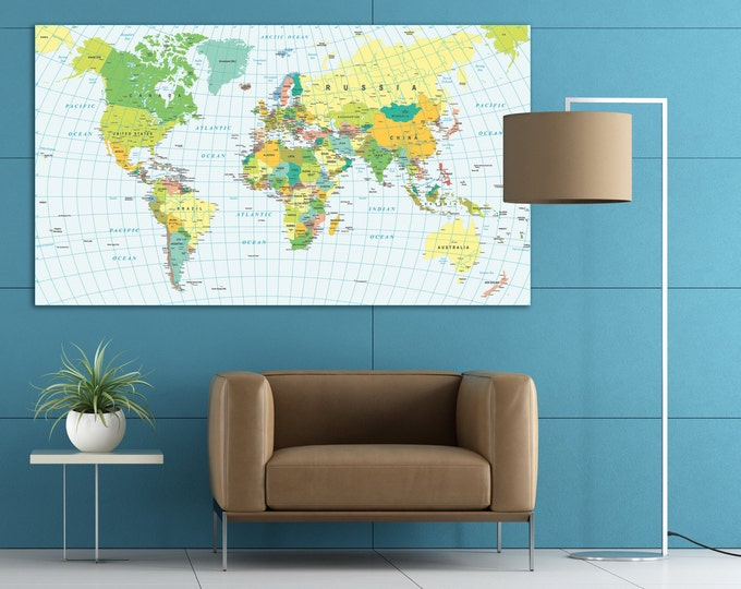 Geographic map of the world, travel map, push pin world map, office and home wall art decoration, world map countries