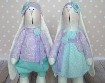 lovers rabbits-Rabbits-Fabric Bunnies-Handmade Bunnies-Interior Doll- Home Decoration-Rag Bunnies-Interior Bunny