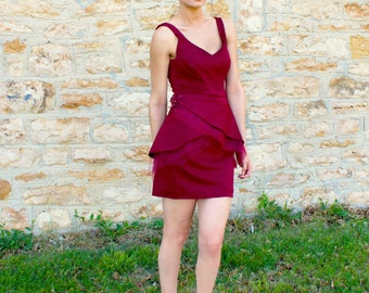 Size 4/8 Burgundy Sleeveless Special Occasion Pencil w/ Layered Detachable Peplum
