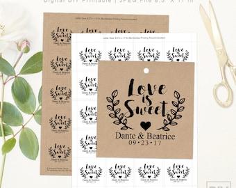 Love Is Sweet Wedding Tags   DIGITAL DIY PRINTABLE   Personalized Wedding Favor Tags   Craft Rustic Laurels