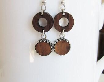 Wood Drop Earrings, Sterling Silver Earrings, Geometric Earrings, Bezel Set Earrings, 5th Wedding Anniversary, Gifts for Her, Brown Earrings