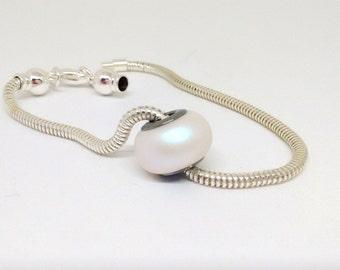 Pearlescent White Bead, Swarovski Pearl Bead, 14mm Rondelle Bead, European Style Charm, 5890, Pearlescent Bead, Chunky Bead, YC4649A