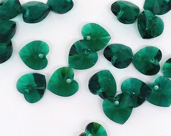 10mm Xilion Heart Pendant, Emerald Crystal, 6228 Swarovksi Beads, Heart Charm, Teal Blue Pendant, Necklace Findings, Loose Bead, YC5658
