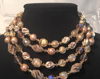 Signed Vintage Vendome, crytal, glass, and bead choker